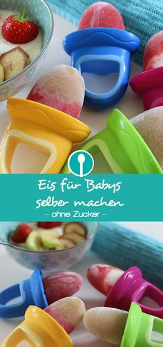 Make ice cream for babies and toddlers themselves - Babybrei und Beikost: Rezepte und Tipps - Eis Baby Food Recipes Stage 1, Baby Food By Age, Avocado Baby Food, Sugar Free Ice Cream, Teething Biscuits, Baby Snacks, Baby Finger Foods, Baby Puree Recipes, Maila