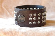 Womens Brown Leather Jeweled Cuff Bracelet with Hand by Studio1070, $26.00