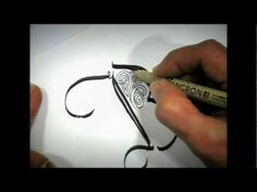 Beautiful Calligraphy! by reknown calligrapher, Maria Thomas, demonstrates a Zentangle patterned B lettering.