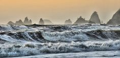 Rialto Beach waves with stacks, Forks area, Washington State | Flickr - Photo Sharing!