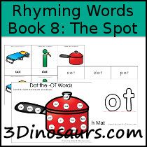BOB Books Rhyming Words Book 8: The Spot - Early Reading Printables are a great and ways way to teach a child to read. These BOB Books Rhyming Words Printables can be used with the Bob Books: Rhyming Words . Printables include: Read, Write, Stamp, Cut & Paste, Playdough Mat with Tracing, Making Words, Cube Flash Cards, Graph the sight Word, Writing Sentences, Dot the Sight Words Words.