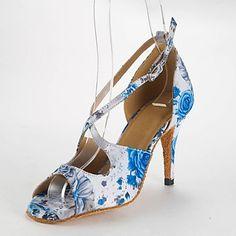 Customizable Women's Dance Shoes Latin Satin Customized Heel Blue – USD $ 34.99