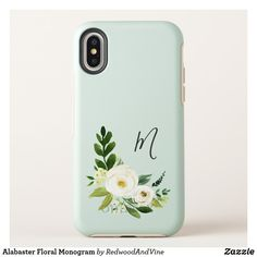 Alabaster Floral Monogram OtterBox Symmetry iPhone X Case Chic monogrammed case features a posy of white watercolor flowers and green botanical foliage, framing your single initial monogram in hand lettered script. available on 4 styles
