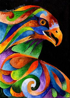 Rainbow Raptor Painting by Sherry Shipley - Rainbow Raptor Fine Art Prints and Posters for Sale