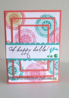 CTMH - A Happy Hello February SOTM. Love triple stamping Sorbet cardstock and ink, lagoon and flaxen ink. Cute CTMH dots