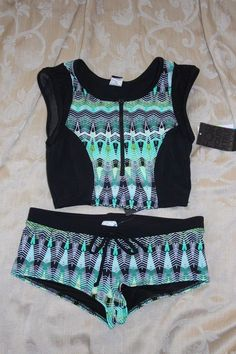 NWT Womens S HURLEY Black Green Tankini Swimsuit Top Boyshort Bottoms   Hurley  Bikiniset Beachwear 22c0def7ae9