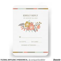 CUSTOMIZABLE FLORAL ANTLERS | WEDDING RESPONSE CARD by  the Antique Chandelier © Jennifer Clarke 2014. Pin to your #woodland #wedding inspiration boards! Customize and purchase at http://www.zazzle.com/floral_antlers_wedding_response_card-161456405555130535?rf=238589399507967362