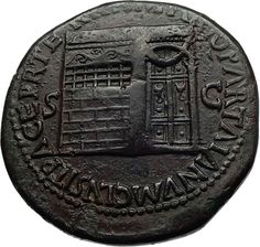 NERO 65AD Authentic Ancient Roman SESTERTIUS Coin w TEMPLE of JANUS i70681 Ancient Roman Coins, Ancient Rome, Roman Gods, Antique Coins, Janus, Take My Money, World Coins, Roman Empire, Mythology