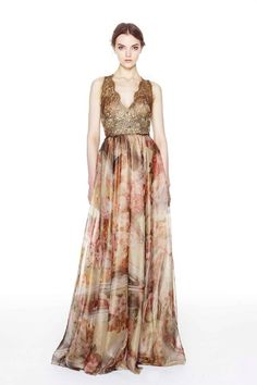 Marchesa Pre-Fall 2014 Lace Overlay Floral Print Wedding Dress