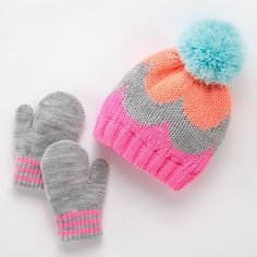67765975381 Carter s Fairisle Cable-Knit Hat   Mittens Set - Baby