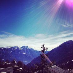 Beautiful day in Ovronnaz Switzerland Beautiful Day, Beautiful Places, Places In Switzerland, Mount Everest, Mountains, Building, Travel, Viajes, Buildings