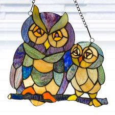 Stained Glass Friendly Owls Window Panel Pinned by www.myowlbarn.com