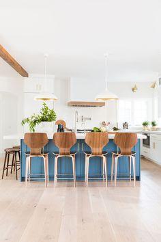 Bright, airy, modern, kitchen design inspiration. Blue Cabinets kitchen