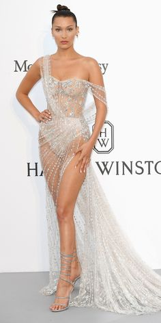 Bella Hadid was basically naked at the 2017 amfAR Gala at the Cannes Film Festival. See her daring look. Gala Dresses, Sexy Dresses, Evening Dresses, Wedding Dresses, Bella Hadid, Sheer Dress, Dress Up, Img Models, Kardashian Kollection