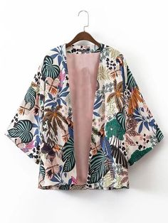 SheIn offers Tropical Print Open Front Kimono & more to fit your fashionable needs. Source by zikali fashion Kimono Shirt, Kimono Cardigan, Kimono Jacket, Kimono Outfit, Kimono Top, Floral Kimono, Shirt Jacket, Short Kimono, Kimono Style