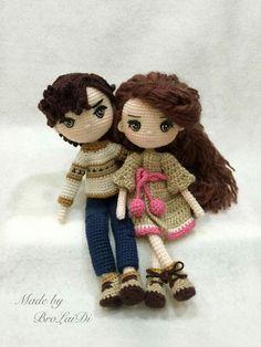 Cute amigurumi couple. Girl and boy dolls. (Inspiration).