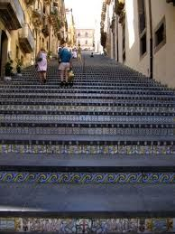Tiled steps at Caltagirone in Sicily - They would place candles on each step - beautiful!