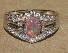 fire opal Cz ring gemstone silver jewelry Sz 8 exquisite cpcktail style R083E