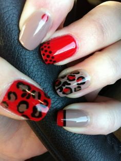 nude and red leopard nails