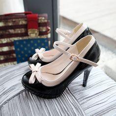 Cute Black Bow High Heel Shoes