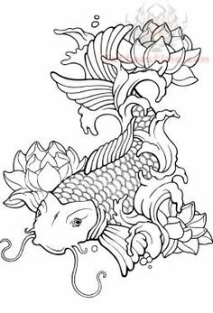 This is the closest drawing I could find to my forearm tattoo... The Koi is done with all its coloring, but the flowers are still waiting to be filled in and cover up the crappy old flowers.   Someday, soon I pray.