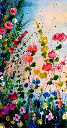 Original flower painting, abstract flower art, wild flower painting, impressionistic B … # abstract art painting # original Oil Painting Flowers, Watercolor Flowers, Watercolor Artists, Watercolor Painting, Abstract Flower Art, Painting Abstract, Painting Art, Oil Painting For Sale, Flower Phone Wallpaper