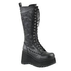 3fc29fb623130f Women s Demonia Scene 107 Lace-Up Knee-High Platform Boot - Black Vegan  Leather Boots