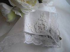 Vintage Inspired Linen and Lace Wedding Keepsake by handcraftusa