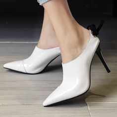 48.96$  Buy now - http://alis63.shopchina.info/go.php?t=32791004547 - New Autumn Fashion Slingback Causal Pointed Toe Bowtie Party Genuine Leather High Heel Women Pumps Thin Heel Party Lady Shoes 48.96$ #bestbuy