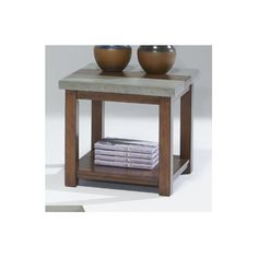 Cascade end table, cement & wood top.
