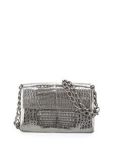 Crocodile Small Chain-Strap Shoulder Bag, Anthracite by Nancy Gonzalez at Neiman Marcus.