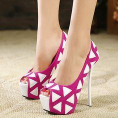 $28.99 Fuchsia Pu Triangle Print Pump Heels @ MayKool.com
