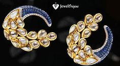 Stylish earrings studded with sapphires, diamonds and kundans.