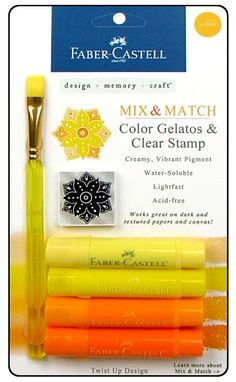 Faber-Castell - Mix and Match Collection - Color Gelatos - Yellow - 4 Piece Set with Clear Acrylic Stamp at Scrapbook.com $9.99