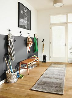 more inspiration for half-painting a wall (afraid to commit to dark color) - Room & Board entryway