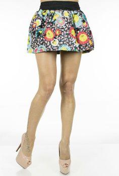 Fusta Dama Rainbow  Fusta dama mini, cu design interesant, avand taietura moderna.  Detaliu - betelie lata ce pune in evidenta talia.  Imprimeul indraznet cu siguranta va va scoate din anonimat     Lungime: 35cm  Latime talie: 35cm  Compozitie: 100%Poliester Mini Skirts, Floral, Design, Fashion, Moda, Fashion Styles, Flowers, Mini Skirt