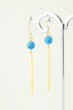 Gold Bar Earrings Gemstone Earrings Turquoise Earrings Dangle