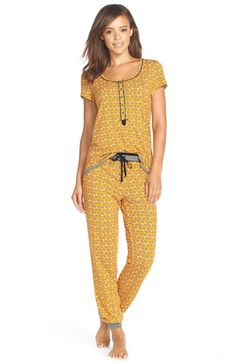 Free shipping and returns on kensie Print Jersey Pajamas at Nordstrom.com. Adorable prints brighten up a cozy pajama set that's cute enough to wear all day. A front button placket enhances the charming short-sleeve top, while a contrast drawstring waistband and elastic cuffs create a comfortable fit for the pants.