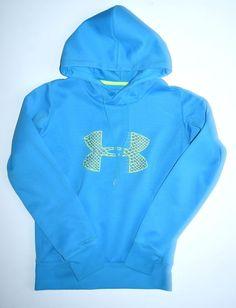 Under Armour Women's XS Storm Fleece Big Logo Hoodie Sweatshirt Turquoise Blue #UnderArmour #Hoodie