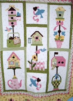 Free quilting projects home - Home box ideas House Quilt Patterns, House Quilt Block, Applique Quilt Patterns, Quilt Blocks, Bird Patterns, Colchas Quilting, Quilting Projects, Quilting Designs, Quilting Board