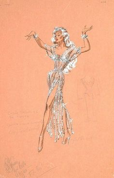Edith Head sketch for Marilyn Maxwell. Looks like a cross over between her work and some of Bob's for Bally's