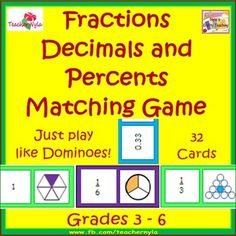 Fractions, Decimals and Percents Matching Dominoes Card Game $