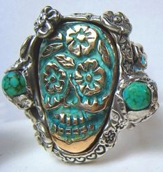 Turquoise Sugar Skull Ring -Day of the Dead- Mexico by jeri
