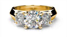 Zlatý zásnubný prsteň VERA žlté zlato 14 karátové diamant okrúhly tri diamanty