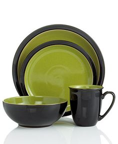 Denby Dinnerware, Duets Black and Green 4 Piece Place Setting - Casual Dinnerware - Dining & Entertaining - Macy's