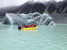 New Iceberg broken off from the Tasman Glacier Face November 2014. Glacier Explorers Tour, Mt Cook.