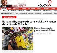 """""""Se prende la fiesta tricolor en Barranquilla"""" afirma Caracol radio; la ciudad se prepara para recibir a quienes llegan con alegría para ver este partido crucial tanto para chilenos como para colombianos."""