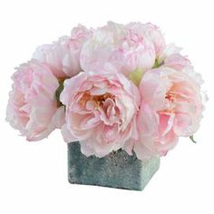 """Faux peony arrangement in a terracotta pot with artificial soil. Hand-assembled in the USA.   Product: Faux floral arrangementConstruction Material: Polyester, plastic, wire, glazed terracotta, glue and paintColor: PinkFeatures: Includes faux peonies  Hand-assembled in the USAFire-glazed terracottaRealistic soil Non-toxic paintDimensions: 10"""" H x 13"""" DiameterCleaning and Care: Regular dusting and cleaning is recommended to maintain a fresh appearance. Use a duster, soft cloth or canned air."""