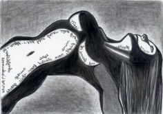 Haunted  female figurative  pencil drawing  by penciledbynicole