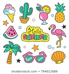 Find Summer Patches Collection Vector Illustration Funny stock images in HD and millions of other royalty-free stock photos, illustrations and vectors in the Shutterstock collection. Flamingo Illustration, Stickers Cool, Tumblr Stickers, Summer Drawings, Easy Drawings, Free Vector Graphics, Free Vector Art, Summer Humor, Funny Summer